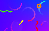 Abstract neon color gradient pattern with Memphis geometric dot and line elements on blue purple background - 213167636