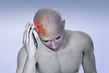 Pain in the head of a person. Migraine. Anatomic vision. - 213172889