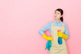 housewife holding a window cleaning bottle - 213173628