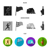 Greece, running, wine, flag .Greece set collection icons in black, flat, monochrome style vector symbol stock illustration web. - 213175042