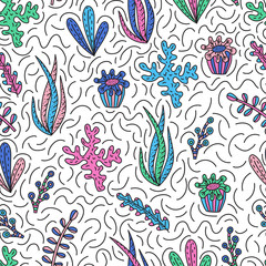 Seamless pattern with cute seaweeds