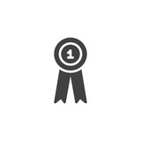 First place award ribbon vector icon. filled flat sign for mobile concept and web design. Number one badge simple solid icon. Symbol, logo illustration. Pixel perfect vector graphics - 213181811