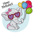 cute elephant with sunglasses and balloons for birthday party