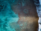 aerial view of waves on reef of polynesia Cook islands - 213191677