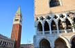 Il palazzo Ducale e il campanile a Piazza San Marco a Venezia in Italia
