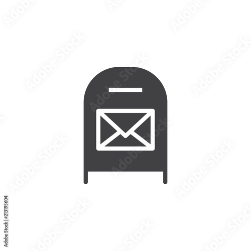 Post box with message vector icon. filled flat sign for mobile concept and web design. Mail box with envelope simple solid icon. Symbol, logo illustration. Pixel perfect vector graphics