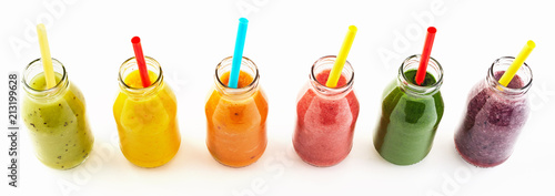 Panorama of healthy veggie and fruit smoothies