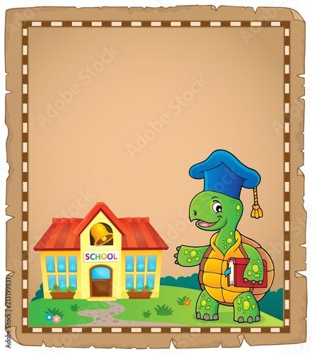 Fotobehang Voor kinderen Turtle teacher theme parchment 1