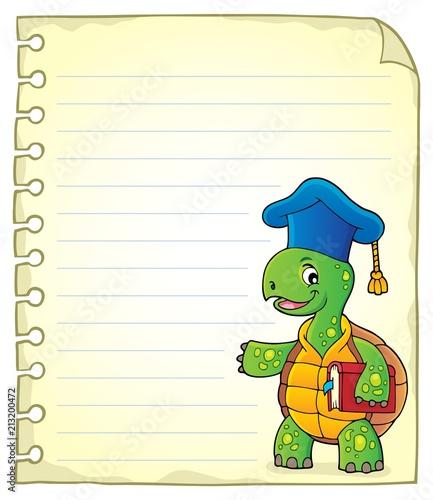 Fotobehang Voor kinderen Notepad page with turtle teacher