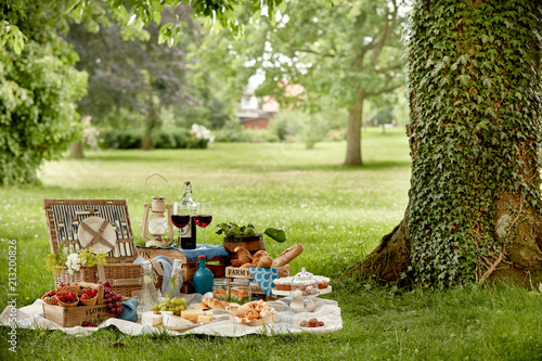 Leinwandbild Motiv Outdoors lifestyle picnic in a lush green park
