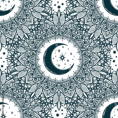 Vintage bohemian linear floral background ornament with crescent moon inside.