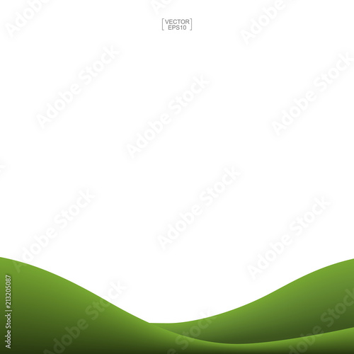 Fotobehang Boerderij Green grass hill background isolated on white. Outdoor abstract background for natural template design. Vector.