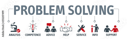 Banner problem solving concept with icons © Trueffelpix