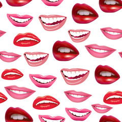 Illustration of seamless background of laughing female lips