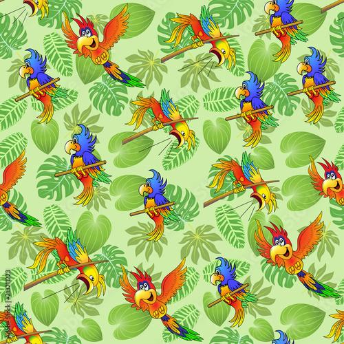 Ilustracyjny bezszwowy tło lato tropikalni liście ii