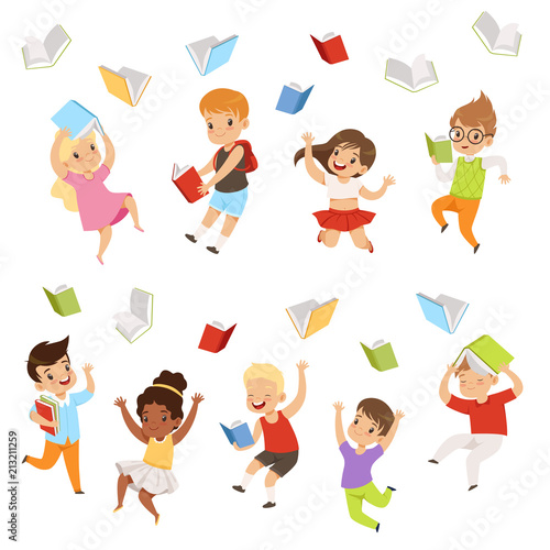 Flat vector set of cartoon children characters jumping and throwing books up in the air. Happy pupils of elementary school - 213211259