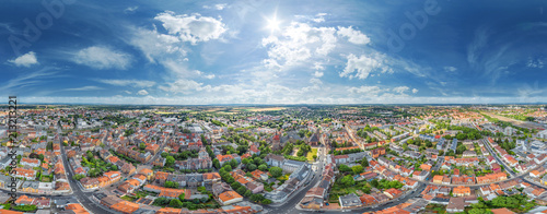 Poster 360° Stadt Luftbild Panorama Worms am Rhein