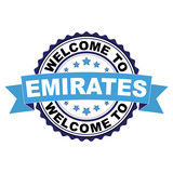 Welcome to Emirates blue black rubber stamp illustration vector on white background