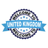Welcome to United Kingdom blue black rubber stamp illustration vector on white background - 213213885
