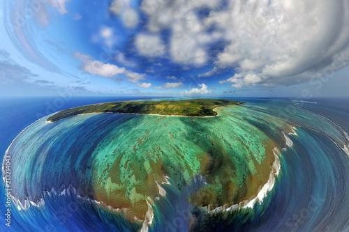 Fotobehang Tropical strand Polynesia Cook Island aitutaki lagoon tropical paradise aerial view tiny world style