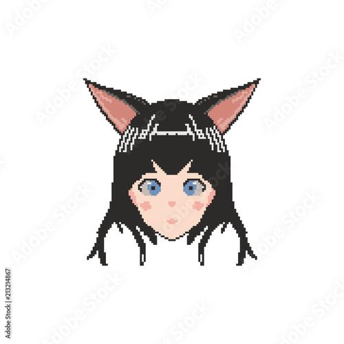 vector pixel art anime girl - 213214867