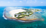 Aerial view of the island of Himmafushi, Maldives - 213216486