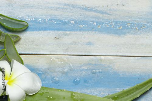 Plexiglas Plumeria Aloe Vera slice and plumeria on blue background, top view and copy space