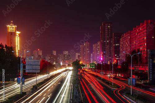 Canvas Nacht snelweg City and highway night scene