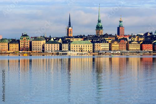 Obraz na płótnie Summer morning in Stockholm Old Town, Gamla Stan, Sweden