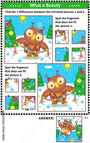 Fotobehang Uilen cartoon New Year or Christmas visual puzzles with owl and garland. Find the differences between the mirrored pictures. Spot the wrong fragments. Answers included.