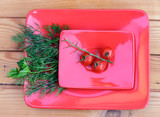 Dill and cherry tomatoes on a branch on a red plate. - 213227849