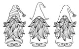 Vector   gnomes cartoons, black silhouettes isolated on white.