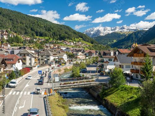 Famous alpine village Ortisei in Trentino, Italy, near by Dolomiti mountains. September, 2017 © ikmerc