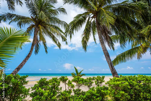 Sand beach and blue sky background