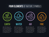 4 elements of Nature  symbols with circle line border and Dashed line abstract sign. Water, Fire, Earth, air. vector design