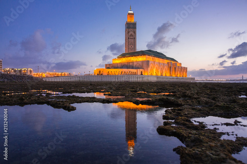 view of Hassan II mosque view of Hassan II mosque reflected on water - Casablanca - Morocco on water - Casablanca - Morocco