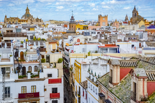 citycape of Seville City (Sevilla), from its Cathedral (La Giralda) in Andalusia, Spain - 213240262