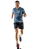 one caucasian man runner jogger running jogging isolated on white background with shadows - 213241289