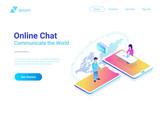 Online Communication Chat isometric. People talking worldwide