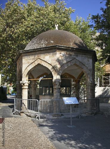 Old fountain in Rhodes city. Rhodes island. Greece