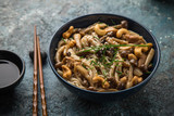 noodles with chicken and shimeji mushrooms in blue  bowl - 213247244