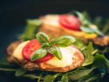 Schweinefilet überbacken mit Mozzarella und Tomaten - 213249293