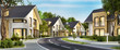 Leinwandbild Motiv Straße mit modernen Häusern