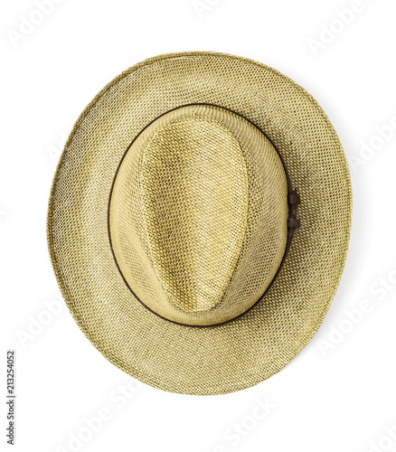 b0ca07bd59a Vintage straw hat for man on white background