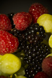 Varied fruit, blackberry, raspberry and grapes