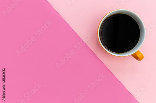 Coffee cup on minimal pink background - 213263632
