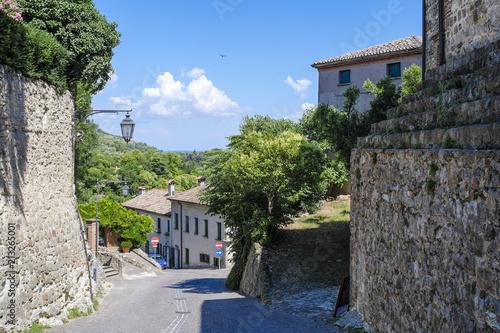 Poster Arka Petrarka, Italy - June, 13, 2018: small street in an old town in Arka Petrarka, Italy