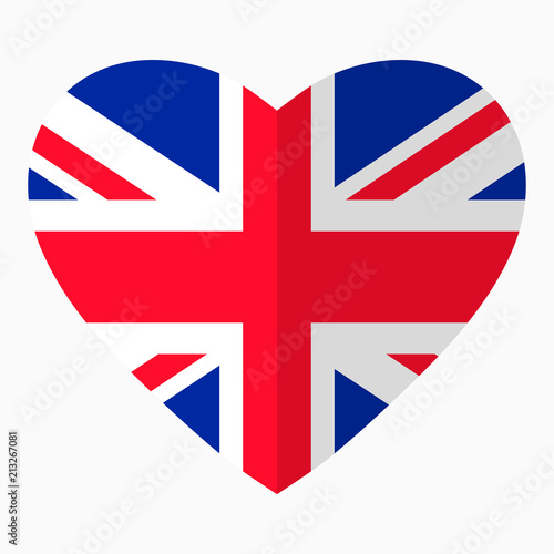 Flag Of Uk In The Shape Of Heart Flat Style Symbol Of Love For His
