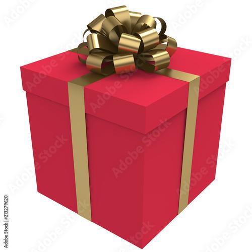 Czerwone pudełko z kokardą złota i wstążki