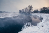 Winter landscape with river and frozen trees - 213291400